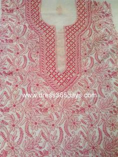 White Unstitched Kurta with Pink Lucknowi Embroidery and Mukaish(One Piece)