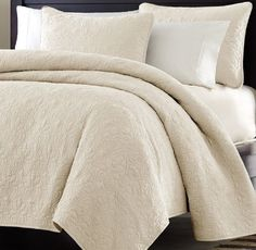 3pc Quilted Coverlet Set- Ivory