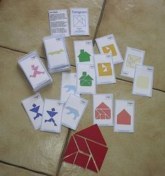 Tangram, the well-known placement game promotes stamina, concentration and spatial perception. The 30 templates presented here were used in the card game fo . Math Classroom, Kindergarten Math, Teaching Math, Preschool, Freetime Activities, Math Activities, Early Intervention Program, Kids Behavior, Elementary Math