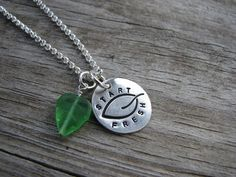 PMC Fine Silver Stamped Disc Pendant Turn Over A New Leaf Fresh Start Necklace on Sterling Chain #pmc