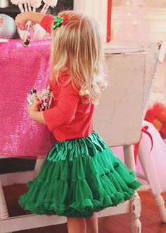 These green pettiskirts are amazingly soft chiffon. Skirts like these retail in high end boutiques for $75-90.  They are great for Christmas photo sessions, birthday parties and so much more!