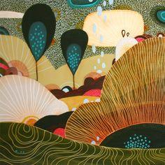 """""""Meadow""""  12""""x12"""" Acrylic on wood  © 2008 Yellena James"""