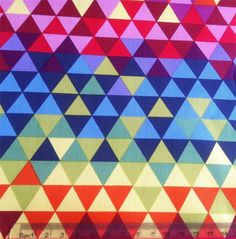 FUNKY BRIGHT TRIANGLE PRINT COTTON FABRIC - for throw pillow