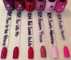 Red Carpet Manicure Swatches, left to right: Plum Up the Volume, You Like Me You Really Like Me, Red Carpet Reddy, Envelope Please, Simply Adorable, & Fuchsia Dreams