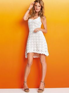 Make it a day (or night) for crochet. The racerback dress gets a sexy update in lightweight cotton crochet for fashion-forward flair. Extra flirty with open stitching and a high-low hem,. White Dress Summer, Cute Summer Dresses, Pretty Dresses, Summer Outfits, Crochet Shoes Pattern, Victoria Dress, Looks Vintage, Crochet Clothes, Crochet Dresses