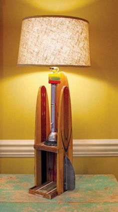 Repurposed Upcycled Vintage Water Ski & Flashlight Table Lamp With Sto