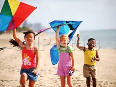 Children Flying Kites on the Beach by Roger Broders Landscapes Photographic Print - 61 x 46 cm