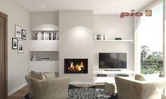 Corner Gas Fireplace, Living Room Decor Fireplace, Living Room Wall Units, Basement Fireplace, Home Fireplace, Living Room Storage, Modern Fireplace, Living Room Designs, Condo Living