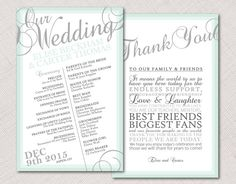 Ombre Border Wedding Program by HummingbirdShops on Etsy