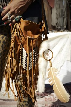 ☮ American Hippie Bohemian Boho Style ~ Leather Fringe Feather Bag