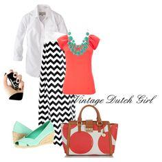 Black White Chevron Maxi Skirt with Coral and Aqua