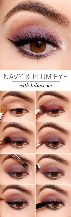 Easy Step by Step Eyeshadow Tutorials for Beginners – Navy and Plum Eye Look #eyeshadowsforbeginners #makeuplooksstepbystep