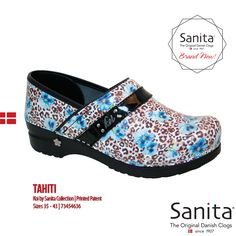 The new Sanita Tahiti Pro from the Koi by Sanita Collection! The liveliness of leopard print combines with the femininity of a beautiful teal floral print on easy care patent leather, with stable arch support and a PU rocker bottom. #MySanita #KoiCollection #Footwear #Lifestyle #Fashion #Comfort