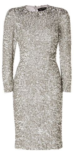 Jenny Packham Silver Silk Sequined Dress