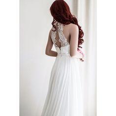 Chiffon wedding gown/Simple wedding dress/Boho wedding dress/Beach... ($1,299) ❤ liked on Polyvore featuring dresses and wedding dresses