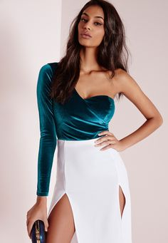 Missguided - Asymmetric Sleeve Velvet Bodysuit Teal
