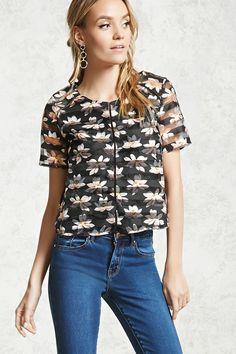 Floral Shadow-Stripe Mesh Top