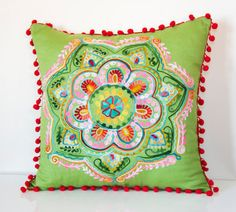 20x20 Inches Green Turkish Round Decorative by prettysurprise, $36.00