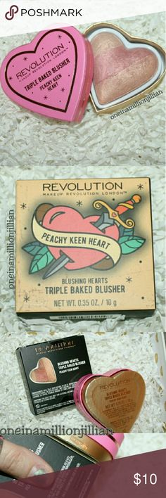 Makeup Revolution Blushing Hearts Blush New in Box/Sealed  Full Sz & Authentic  Color: Peachy Keen Heart  Makeup Revolution's Blushing Hearts Blusher is a triple baked obsession that you're bound to fall in love with! This heavenly baked blusher has 3 shades merged together to enhance cheekbones with a hint of shimmer.  Check out my page for more great items & discounts. #oneinamillionjillian Makeup Revolution Makeup Blush