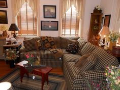 Sectional for family room, country style. Love the plaid