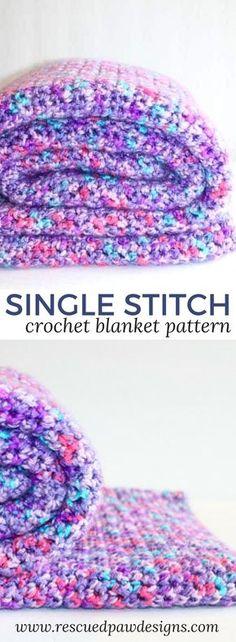 Elise's Single Crochet Blanket Pattern - Free Crochet Blanket Pattern #crochetblanket #crochetpattern #freecrochetblanket #singlecrochetblanket #crochet www.rescuedpawdesigns.com