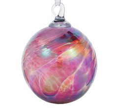 Hand Blown Pink Feather Glass Ornament Glass Eye Studio