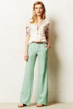 Pilcro Linen Wide-Legs Green 6 P Pants