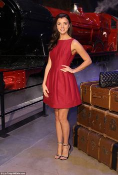 Lucy Mecklenburgh.. Halston Heritage red sleevless dress..