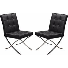 Set of (2) Cordoba Tufted Dining Chair w/ Stainless Steel Frame by Diamond Sofa - Black