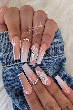 Acrylic Nails Coffin Pink, Long Square Acrylic Nails, Pink Ombre Nails, Ombre Nail Art, Pink Bling Nails, Bling Nail Art, Summer Acrylic Nails, Spring Nails, Summer Nails
