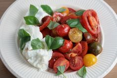 Tomatensalade (tomaten, zout, peper, oregano, knoflook, rode peper, olijfolie, balsamicoazijn, buffelmozzarella, basilicum)