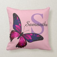 Funky Chic Butterfly Monogram Throw Pillow Monogram Pillows, Monogram Gifts, Custom Pillows, Butterfly Pillow, Pink Butterfly, Girly Gifts, Pink Gifts, Throw Pillows Bed, Decorative Throw Pillows