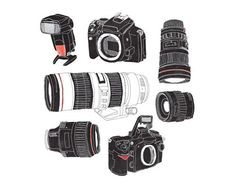 Camera Illustrations by Olly Moss Electronics Gadgets, Electronics Projects, Camera Photography, Photography Tips, Olly Moss, Camera Aperture, Fotografia Social, Camera Equipment, Photoshop Elements