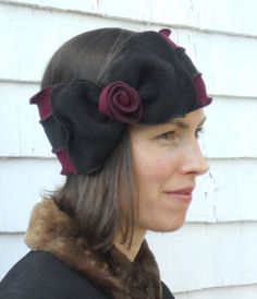 Flapper Striped Polar Fleece Headband Bowdette by hatjunkie