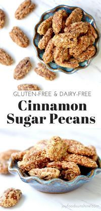 Cinnamon Sugar Pecans Recipe! Made with only 6 simple ingredients, they are gluten-free and dairy-free! So much better (and healthier) than the cinnamon roasted mall nuts! Use on salads or eat as a snack!