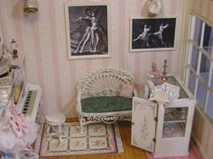 Shaumbre School of Dance ~ by T. Vanterpool, right wall, Bespaq furniture and wire wicker bench with pillow