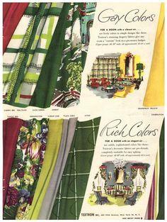 Vintage 1949 Textron Curtain Fabric Magazine Print Ad 1940s Drapery Yardage Advertisement