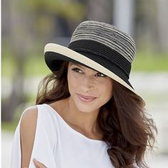 Marled Braid Hat from Monroe and Main.  Bright ivory and sleek black partner and combine into unique styling which pairs well with many looks