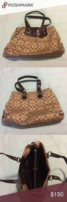 Coach Carryall Shoulder Bag Great condition!! Tan COACH print with brown leather  Inside zip divider  Zip pocket Cellphone pocket Multi-function pocket Coach Bags Shoulder Bags