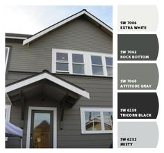 58 ideas exterior paint colors for house green grey gray for 2019 Exterior Paint Color Combinations, House Paint Color Combination, Exterior Color Schemes, House Color Schemes, Colour Combo, Exterior Gray Paint, Exterior Paint Colors For House, Paint Colors For Home, Paint Colours
