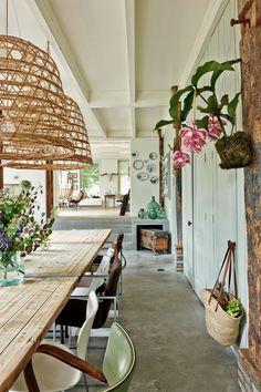 Decoração de: Sala de jantar; pendentes de bambu; Casa de Valentina
