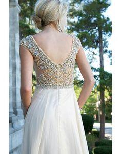 luxusní svatební nebo plesové antické champagne šaty vyšívané Meira S - Hollywood Style E-Shop
