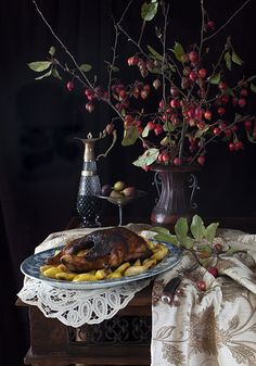 "Russian Monday: Roasted Lemony Duck with Buttery Quince - ""Utka & Aiva"" at Cooking Melangery Goose Recipes, Ginger Honey Lemon, Duck Soup, Fermented Cabbage, Roast Duck, Wild Game Recipes, Fruit Dishes, Russian Recipes, Quail"