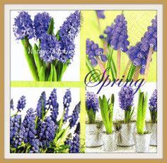SALE *** TWO Paper napkins for DECOUPAGE - Violet Spring Flowers by VintageNapkins on Etsy