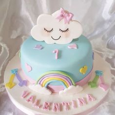 Cloud Baby Cakes, Baby Shower Cakes, Girl Cakes, 1st Birthday Cake For Girls, Baby Birthday Cakes, Rainbow Birthday, Cloud Party, Fondant Cakes, Cupcake Cakes