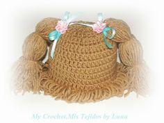 My Crochet , Mis Tejidos: Cabbage Patch Beanie Hat