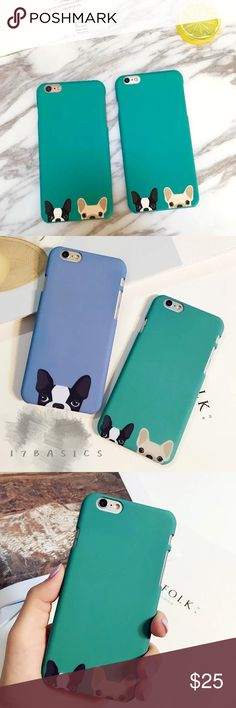 ⚡️FLASH SALE⚡️17Basics Puppy phone case Brand new super cute French bull dog phone case from 17Basics. Come in both green and blue for iPhone 6/6s. Love them! 17Basics Accessories Phone Cases