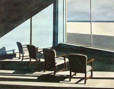 """John Register (1939-1996) was an American painter who suddenly left his previous career in advertising and became a full time artist. His sunlit interiors miss any living human presence, but are populated with chairs and desks resting in stillness, depict a melancholic California. Compared with Edward Hopper, Register commented: """"With Hopper you witness someone else's isolation; in my pictures, I think you, the viewer, become the isolated one."""""""
