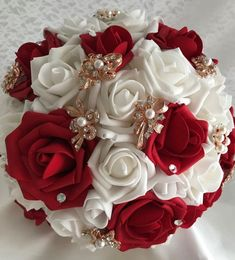 BROOCH BOUQUET & BOUTONNIERE SET, Quinceanera Bouquet, Red and Ivory Foam Roses #HANDMADE #Wedding