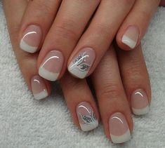 Wedding nails, gel french manicure, ongles gel french, french manucure, french tip French Manicure Nails, French Tip Nails, Gorgeous Nails, Pretty Nails, Gel Nail Art, Acrylic Nails, Nail Polish, Nail Tip Designs, Nails Design